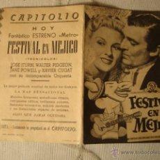 Cine: ANTIGUO FOLLETO CINE PELICULA FESTIVAL DE MEJICO - PROYECTADA EN ELCHE, AÑOS 40-50. Lote 40011916
