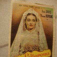 Cine: ANTIGUO FOLLETO CINE PELICULA BETTE DAVIS LA SOLTERONA PROYECTADA EN ELCHE, AÑOS 40-50. Lote 40077415
