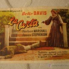 Cine: ANTIGUO FOLLETO CINE PELICULA BETTE DAVIS LA CARTA - PROYECTADA EN ELCHE, AÑOS 40-50. Lote 40077603