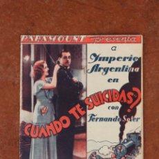 Cine: FOLLETO DE MANO: CUANDO TE SUICIDAS. Lote 40162325