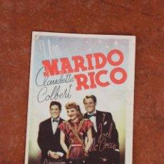 Cine: FOLLETO DE MANO: UN MARIDO RICO. Lote 40162643