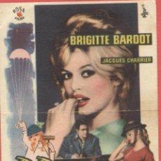 Cine: PROGRAMA CINE SAGUNTO VALENCIA-BABETTE SE VA A LA GUERRA,-BRIGTTE BARDOT, CON PUBLICIDAD CC163*. Lote 40172421