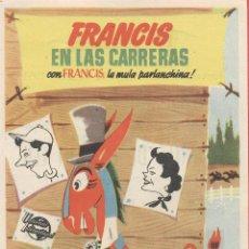 Cine: CARTEL DE CINE - PROGRAMA - *FRANCIS EN LAS CARRERAS* -ROSALEA - SEGORBE- CC572*. Lote 40175323