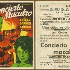 Cine: FOLLETO DE MANO - CONCIERTO MACABRO (CON PUBLICIDAD). Lote 40243569