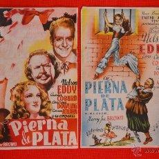 Cine: PIERNA DE PLATA, DOS PROGRAMAS GRANDES ARAJOL 1947, NELSON EDDY, CON PROPAGANDA. Lote 40267338