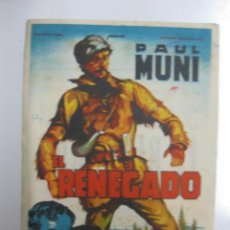 Cine: PROGRAMA CINE.- EL RENEGADO. PAUL MUNI. 20 CENTURY FOX. . Lote 40271170