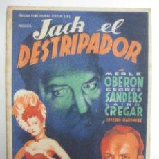Cine: PROGRAMA CINE.- JACK EL DESTRIPADOR. MERLE OBRERON, GEORGE SANDERS. 20 CENTURY FOX.. Lote 40279064