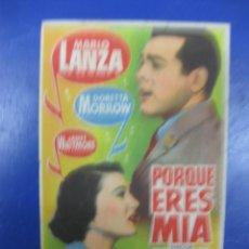 Cinema - PROGRAMA CINE.- PORQUE ERES MIA. MARIO LANZA, DORETTA MORROW, JAMES WHITMORE.. - 40328307
