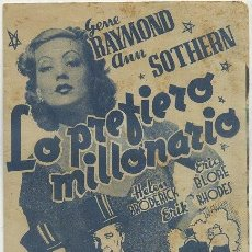 Cine: PROGRAMA DE CINE DOBLE: LO PREFIERO MILLONARIO PC-2590. Lote 40348954