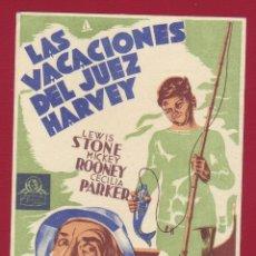 Cine: PROGRAMA DE MANO - LAS VACACIONES DEL JUEZ HARVEY. Lote 40464558