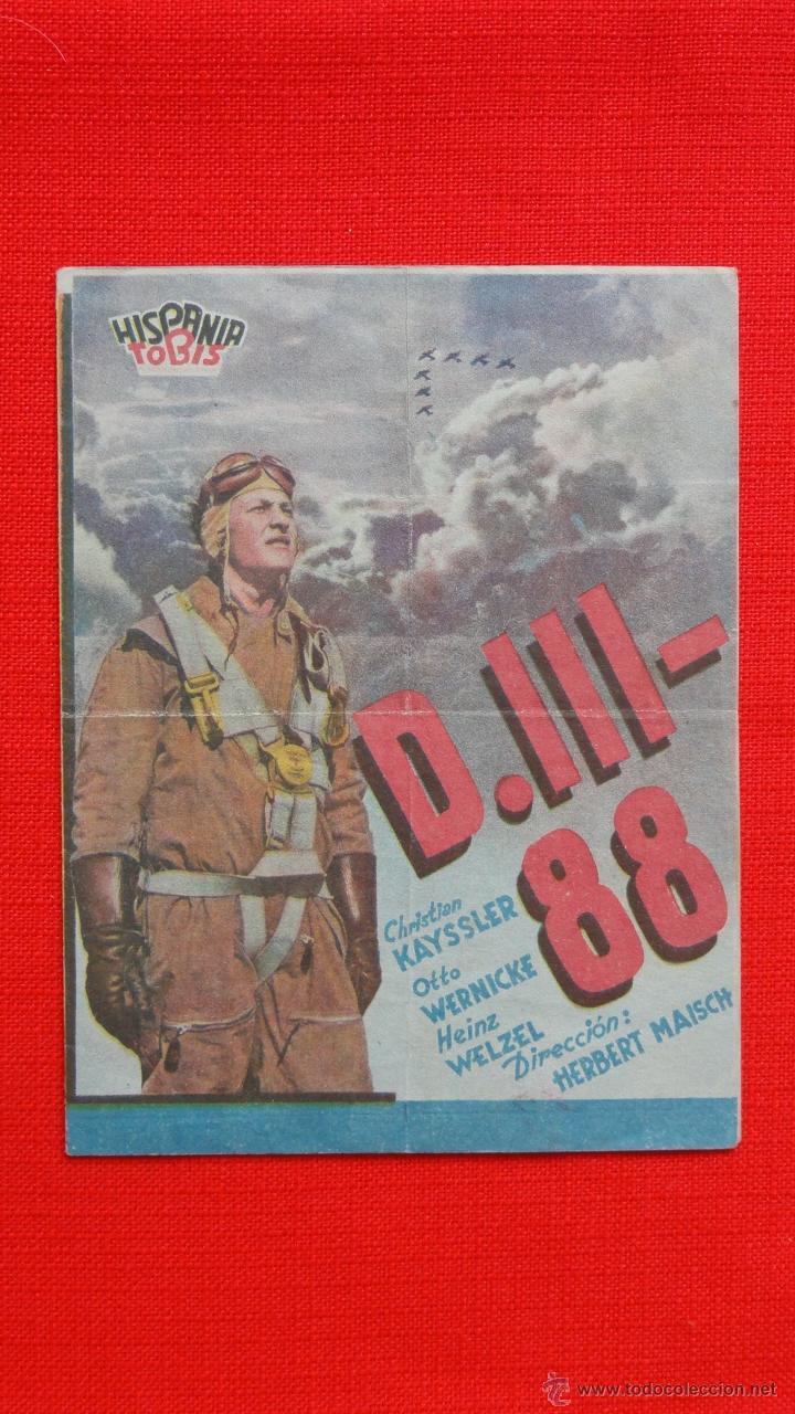 D.III-88, DOBLE, CHRISTIAN KAYSSLER OTTO WERNICKE, CON PUBLICIDAD SALON NACIONAL (Cine - Folletos de Mano - Bélicas)
