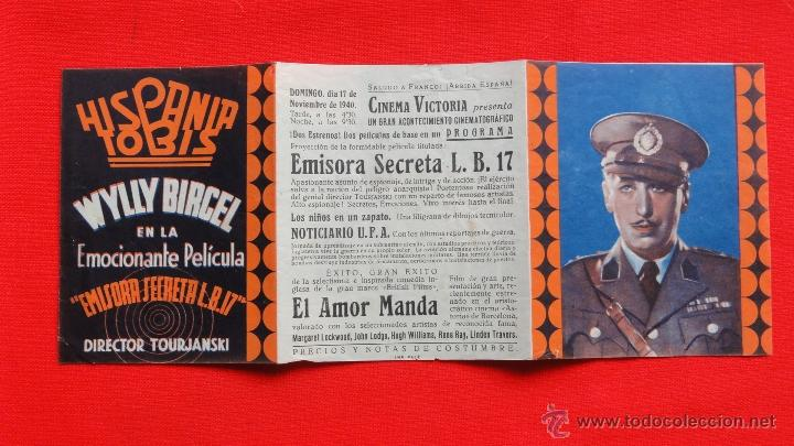 Cine: EMISORA SECRETA L.B.17, TRÍPTICO 1940, DIRECTOR TOURJANSKI, CON PUBLICIDAD VICTORIA - Foto 3 - 40485138