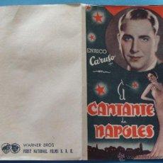 Cine: CARTEL, PROGRAMA DOBLE, FOLLETO DE MANO. AÑO 1935. EL CANTANTE DE NAPOLES, ENRICO CARUSO. Lote 40514059