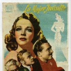 Foglietti di film di film antichi di cinema: LA MUJER INVISIBLE, CON JOHN BARRYMORE.. Lote 40519400