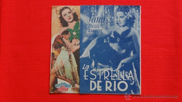 LA ESTRELLA DE RIO, DOBLE EXCELENTE. ESTADO, LA JANA, CON PUBLICIDAD CINE DORADO (Cine - Folletos de Mano - Deportes)