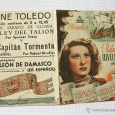 Cine: FOLLETO DE MANO DE LA PELICULA EL CAPITAN TORMENTA - AMPARO RIVELLES. Lote 40666489