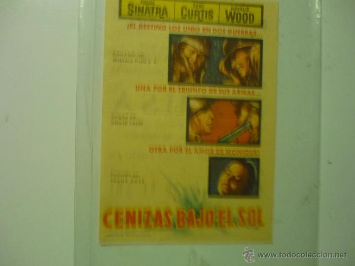 PROGRAMA CENIZAS BAJO EL SOL .- FRANK SINATRA - PUBLICIDAD (Cine - Folletos de Mano - Bélicas)