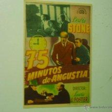 Cine: PROGRAMA 75 MINUTOS DE ANGUSTIA.-LEWIS STONE. Lote 40720519