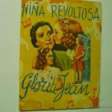 Cine: PROGRAMA DOBLE NIÑA REVOLTOSA.-GLORIA JEAN-PUBLICIDAD. Lote 40720538