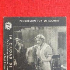Cine: LA CIUDAD DE CARTON, TARJETA ORIGINAL FOX AÑOS 30, CATALINA BÁRCENA, SIN PUBLICIDAD. Lote 40956281