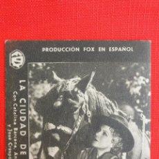 Cine: LA CIUDAD DE CARTON, TARJEFA FOX ORIGINAL AÑOS 30, CATALINA BÁRCENAS, SIN PUBLICIDAD. Lote 40956417