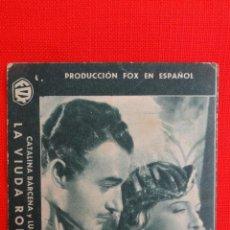 Cine: LA VIUDA ROMANTICA, TARJETA FOX 1934, CATALINA BÁRCENA, CON PUBLICIDAD BERGADA. Lote 40957833