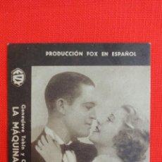 Cine: LA MAQUINA INFERNAL, TARJETA FOX ORIGINAL AÑOS 30, EXCTE. ESTADO, GENEVIEVE TOBIN SIN PUBLICIDAD. Lote 40957971