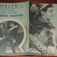 Cine: EL GENIO ALEGRE, CIFESA, PROGRAMA DOBLE, CON PUBLICIDAD DEL CINE RIALTO. Lote 41001045