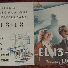 Cine: EL 13 - 13, PROGRAMA DOBLE, CON PUBLICIDAD DEL PALACIO DEL CINE. Lote 41002887