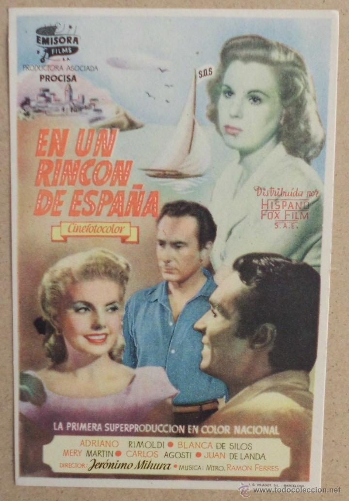 FOLLETO DE MANO CINE EN UN RINCON DE ESPAÑA CON PUBLICIDAD AL DORSO (Cine - Folletos de Mano - Clásico Español)