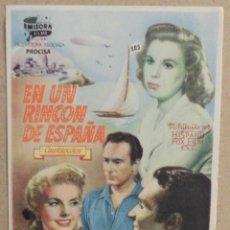 Cine: FOLLETO DE MANO CINE EN UN RINCON DE ESPAÑA CON PUBLICIDAD AL DORSO. Lote 41009220