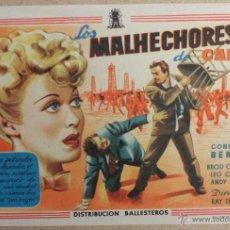 Cine: FOLLETO DE MANO CINE LOS MALHECHORES DE CARSIN CON PUBLICIDAD AL DORSO. Lote 41010725