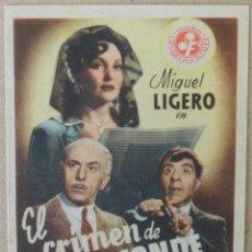 Cine: FOLLETO DE MANO CINE EL CRIMEN DE PEPE CONDE CON PUBLICIDAD AL DORSO. Lote 41057223