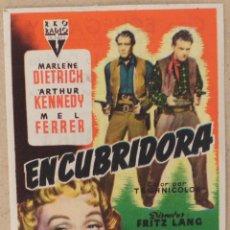 Flyers Publicitaires de films Anciens: FOLLETO DE MANO CINE ENCUBRIDORA CON PUBLICIDAD AL DORSO. Lote 41057941