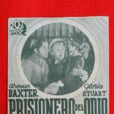 Cine: PRISIONERO DEL ODIO, TARJETA FOX 1940, EXCTE. ESTADO, WARNER BAXTER GLORIA STUART, SIN PUBLICIDAD. Lote 41115247