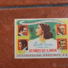 Cine: FOLLETO DE MANO: LOS HOMBRES QUE LA AMARON. Lote 41212869
