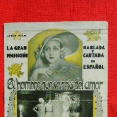 Foglietti di film di film antichi di cinema: EL HOMBRE QUE SE REIA DEL AMOR, DOBLE, Mª FERNANDA LADRÓN RAFAEL RIVELLES, PUBLI FANTASIO, AMARILLO. Lote 41218592