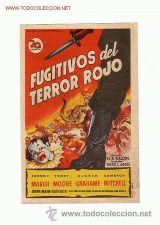 -54030 PROSPECTO DE CINE FUGITIVOS DEL TERROR ROJO, CON FREDRIC MARCH Y GLORIA GRAHAME (Cine - Folletos de Mano - Terror)