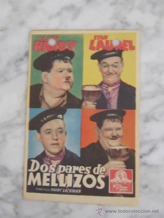 PROGRAMA DE CINE - DOS PARES DE MELLIZOS - 1936 - PUBLICIDAD (Cine - Folletos de Mano - Comedia)