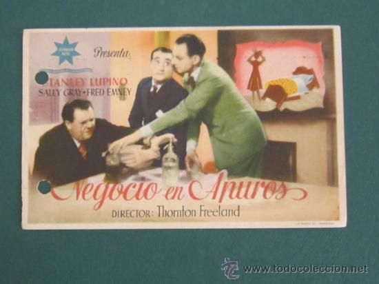 PROGRAMA DE CINE - NEGOCIO EN APUROS - 1938 - PUBLICIDAD - DOBLADO (Cine - Folletos de Mano - Comedia)