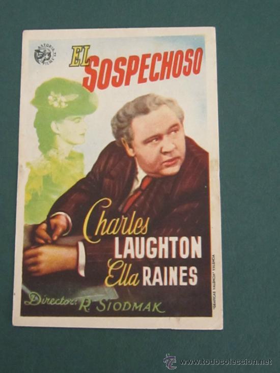 PROGRAMA DE CINE - EL SOSPECHOSO - 1944 - PUBLICIDAD - DOBLADO (Cine - Folletos de Mano - Suspense)