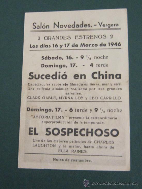Cine: PROGRAMA DE CINE - EL SOSPECHOSO - 1944 - PUBLICIDAD - DOBLADO - Foto 2 - 41422135