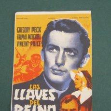 Cine: PROGRAMA DE CINE - LAS LLAVES DEL REINO - 1944 - PUBLICIDAD - DOBLADO. Lote 41437586