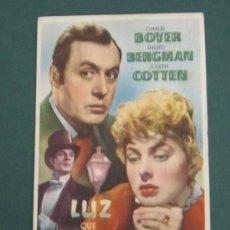 Cine: PROGRAMA DE CINE - LUZ QUE AGONIZA - 1944 - PUBLICIDAD. Lote 41437655