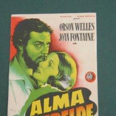 Cine: PROGRAMA DE CINE - ALMA REBELDE - 1944 - PUBLICIDAD. Lote 41437768