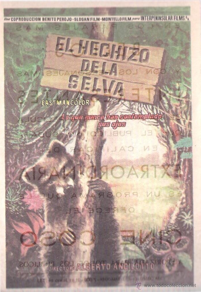 FOLLETO DE MANO - EL HECHIZO DE LA SELVA. CINE COSO ZARAGOZA 1958 (Cine - Folletos de Mano - Terror)