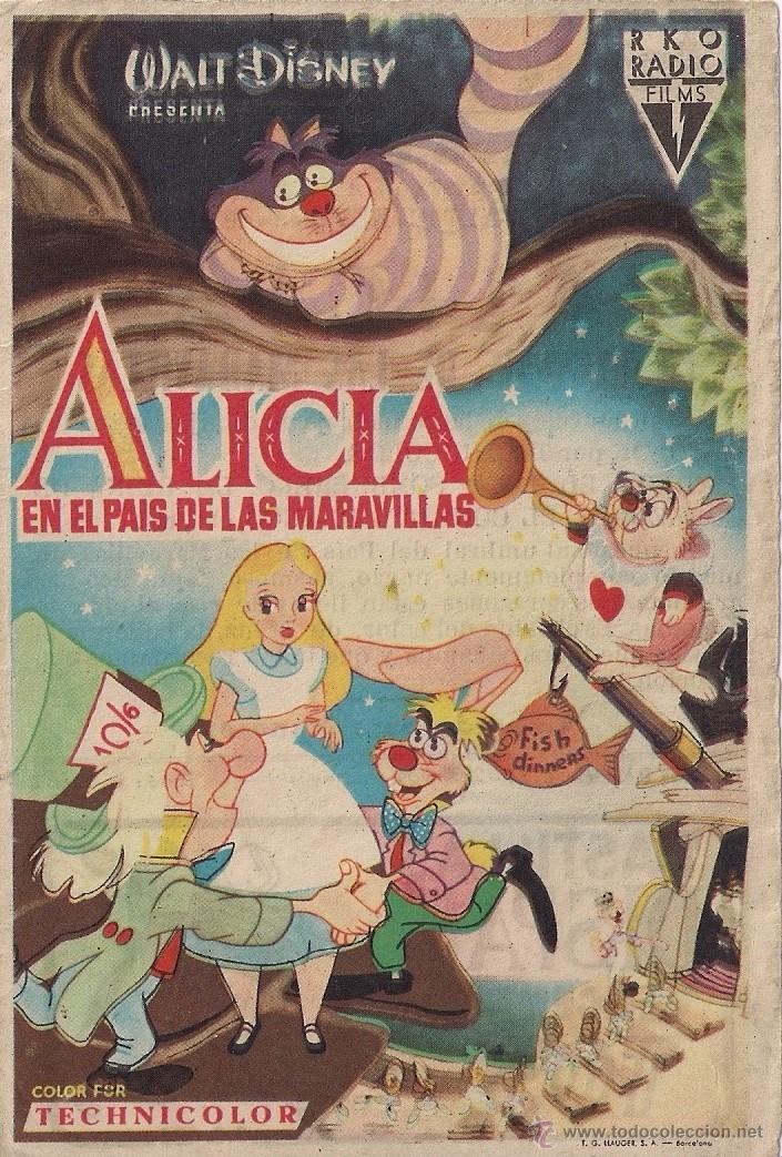 FOLLETO DE MANO - ALICIA EN EL PAIS DE LA MARAVILLAS. CINE COSO ZARAGOZA 1954 (Cine - Folletos de Mano - Infantil)