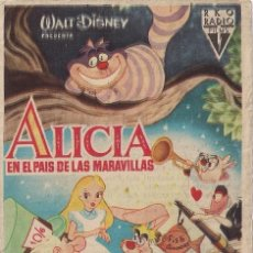 Cine: FOLLETO DE MANO - ALICIA EN EL PAIS DE LA MARAVILLAS. CINE COSO ZARAGOZA 1954. Lote 41462252