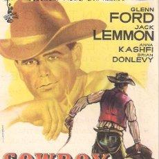 Cine: FOLLETO DE MANO - COWBOY. CINE VICTORIA. ZARAGOZA 1960. Lote 41474051