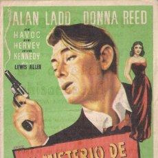 Cine: FOLLETO DE MANO - EL MISTERIO DE UNA DESCONOCIDA. CINE DORADO. ZARAGOZA 1955. Lote 41474423
